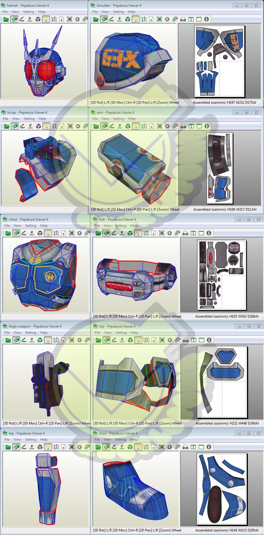 3d Model to Papercraft Kamen Rider G3x Costume Template Pattern Pepakura 3d Model