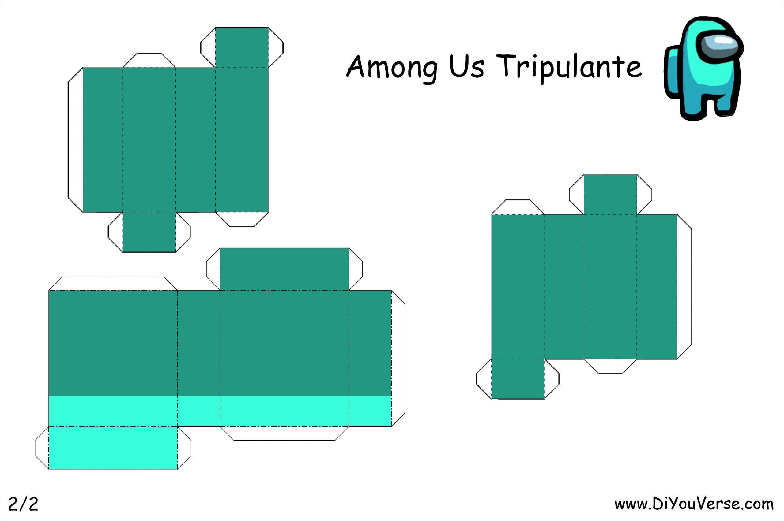 Among Us Papercraft Among Us Tripulante Cian 2 Papercraft