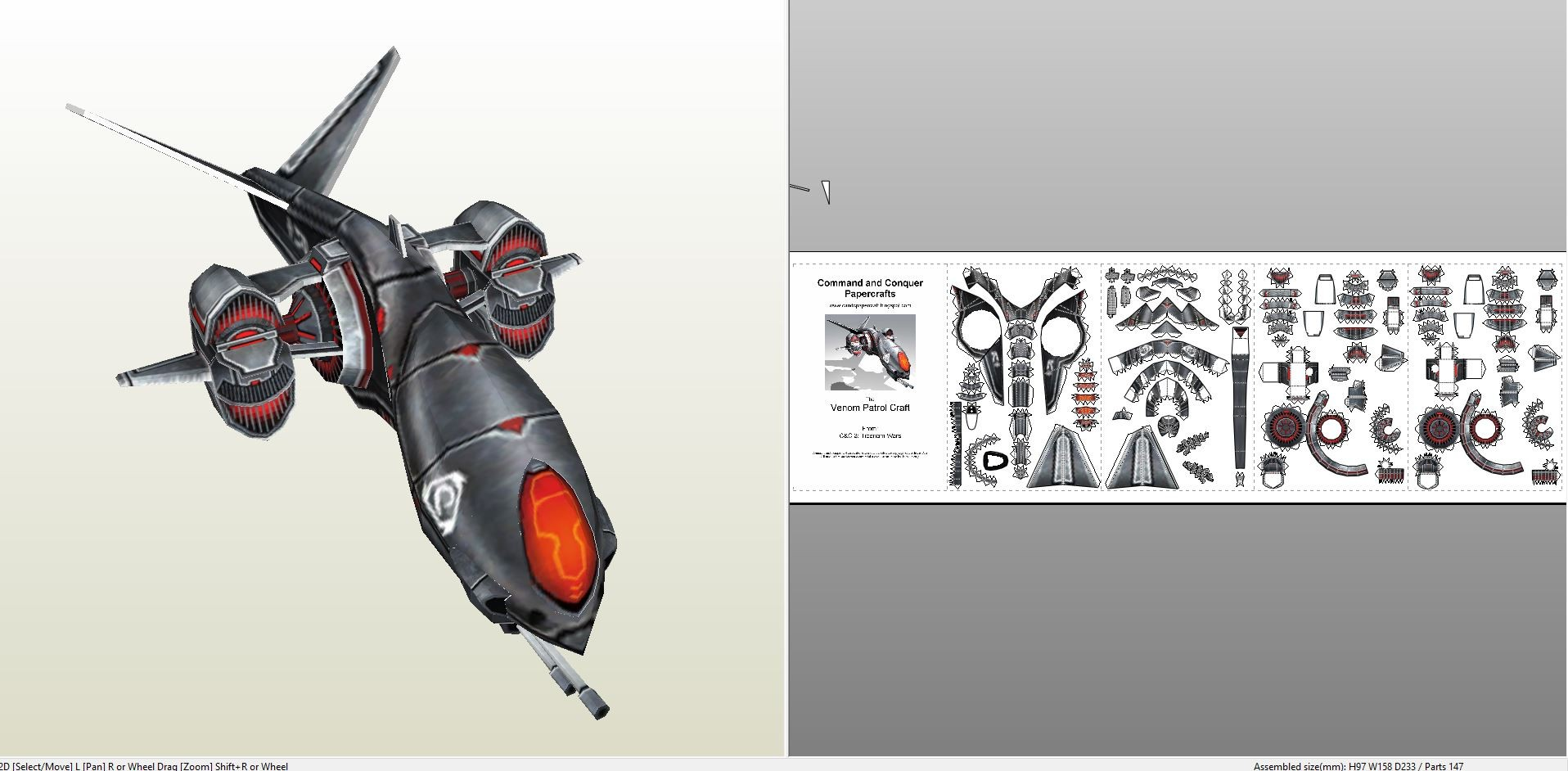 Battlestar Galactica Papercraft Papercraft Pdo File Template for Mand & Conquer Venom Aircraft