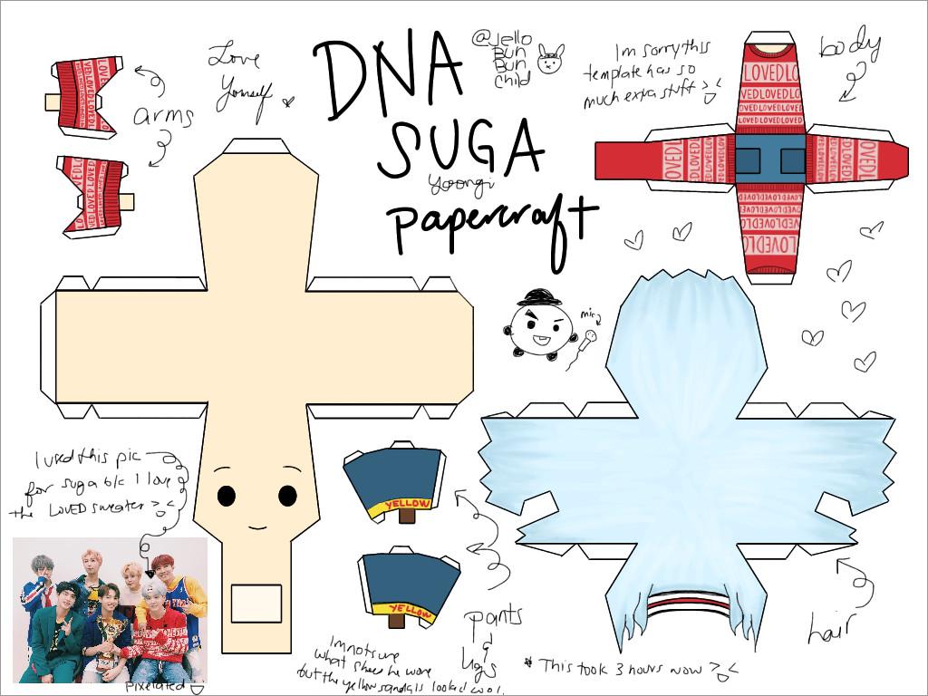 Bts Papercraft Chibi Bts Dna Suga Papercraft