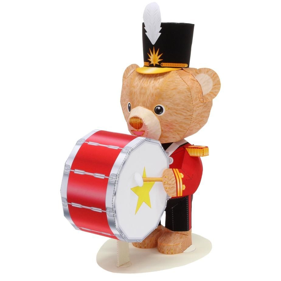 Canon Creative Papercraft Mini Teddy Bear Bass Drum toys Paper Craft Doll Musical Instrument