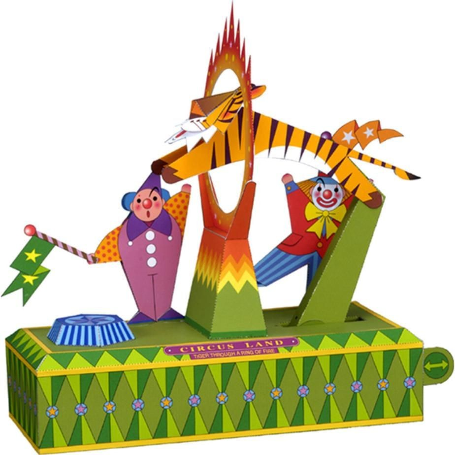 Canon Creative Papercraft Tiger Through A Ring Of Fire toys Paper Craft Circle Circus Clown
