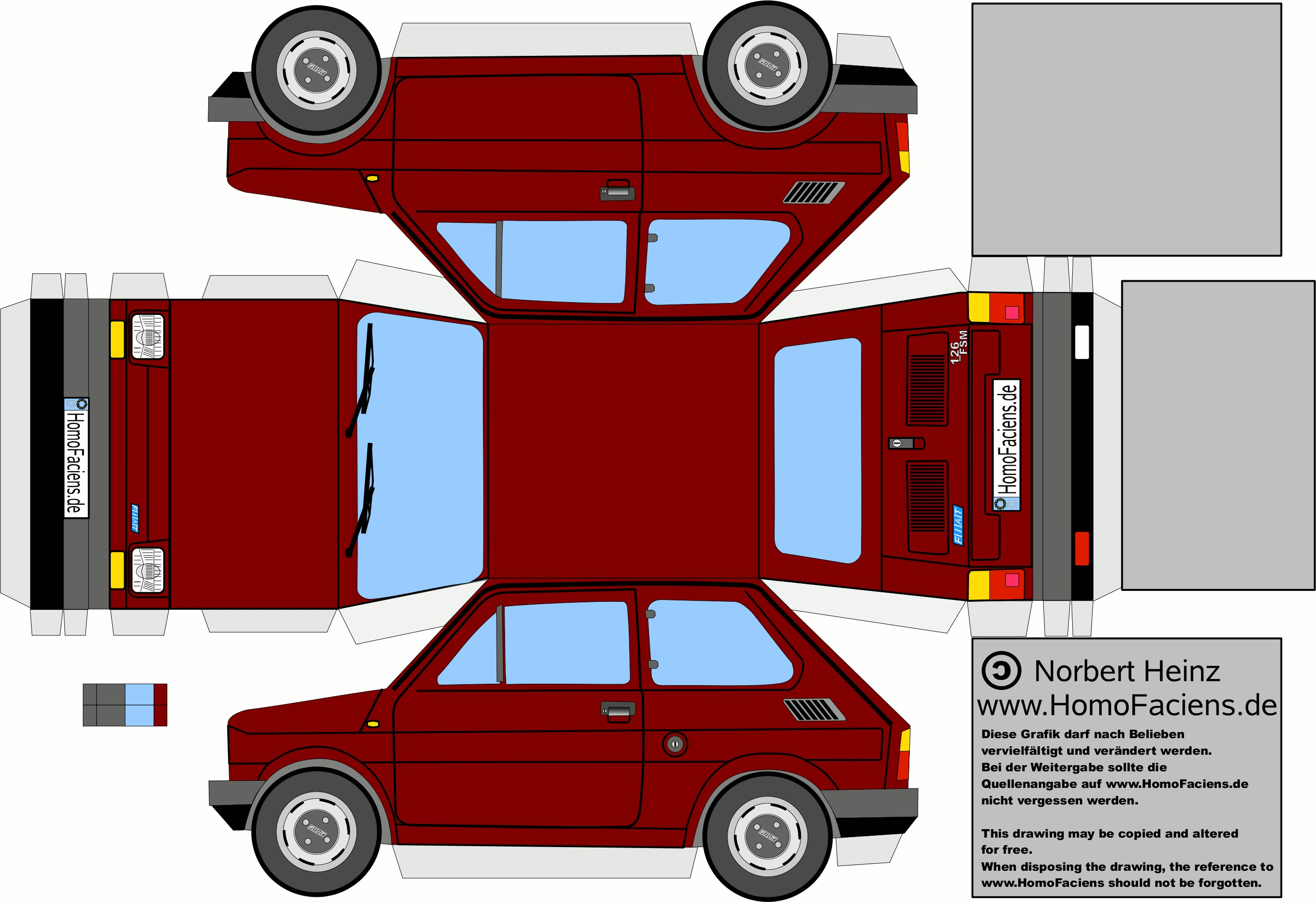 Car Papercraft Fiat 126 Prima Serie Bordeau Cerca Con Google