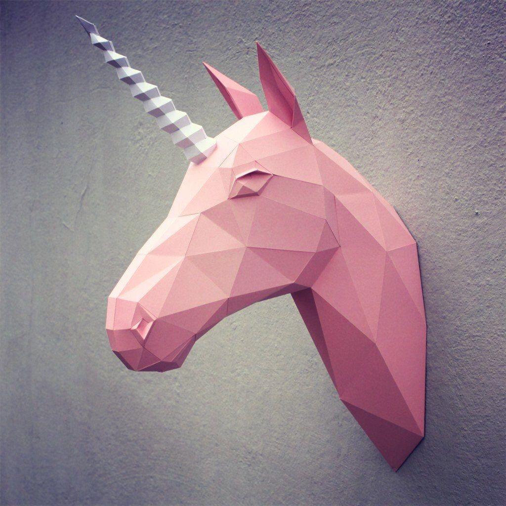 Ceiling Cat Papercraft 04 Paper Unicorn Head Printable Digital Template