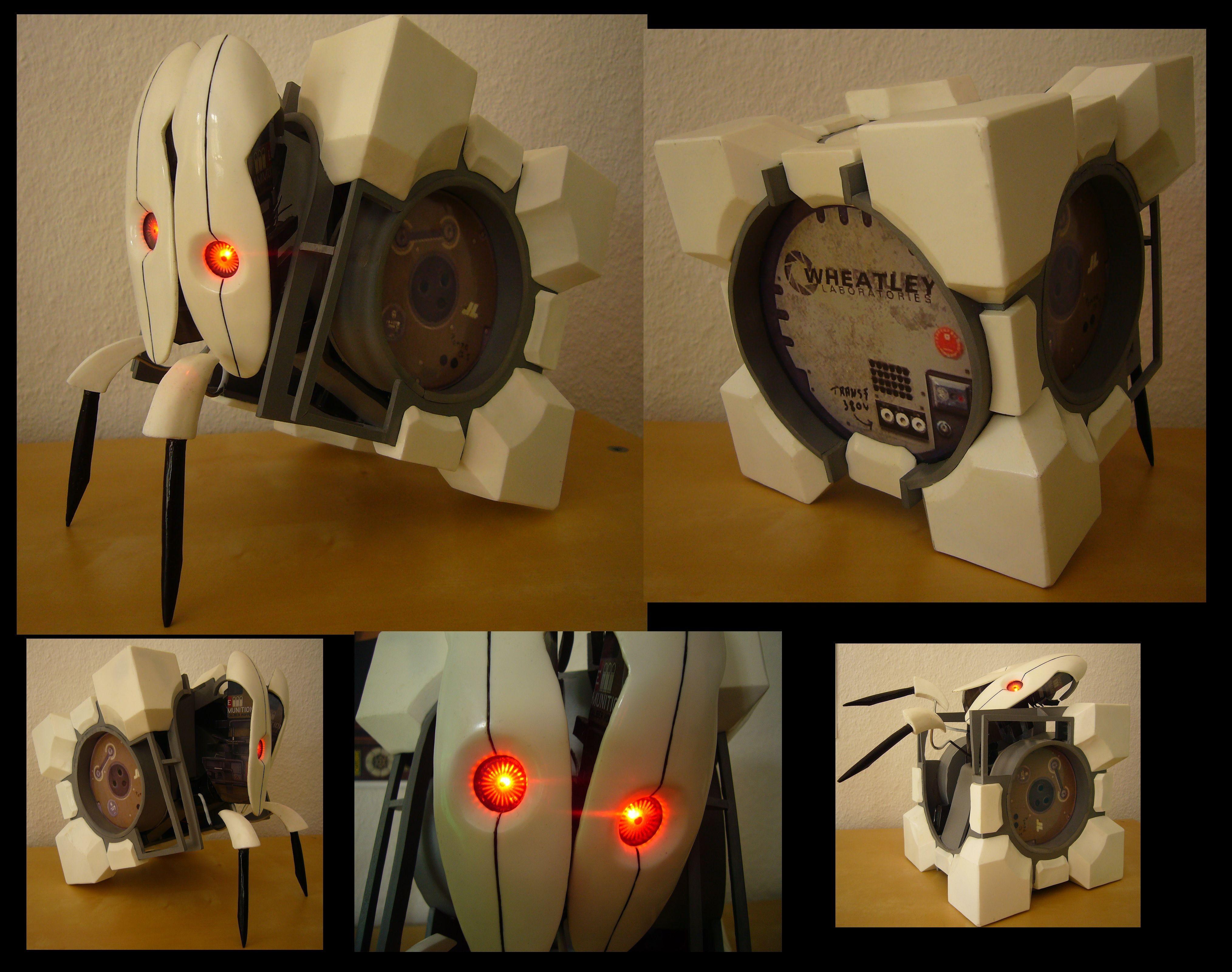 Companion Cube Papercraft Frankenturret Part Panion Cube Part Turret and Part Awesome