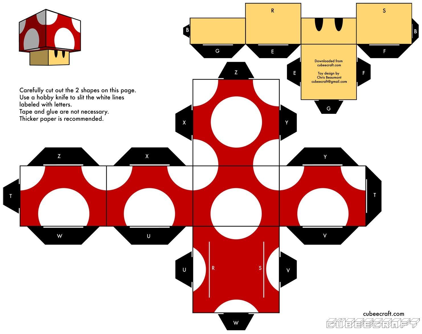 Companion Cube Papercraft Papercraft Mario Angry Birds Matt Groening[para Imprimir]