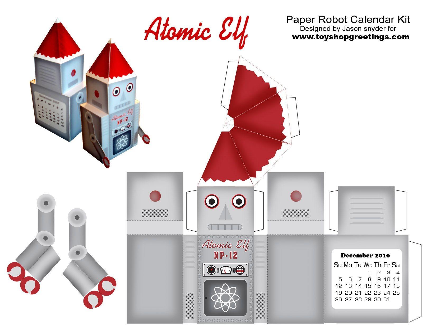 Computer Papercraft Santa toy Robot Christmas atomic Elf Paper Cutout Papercraft