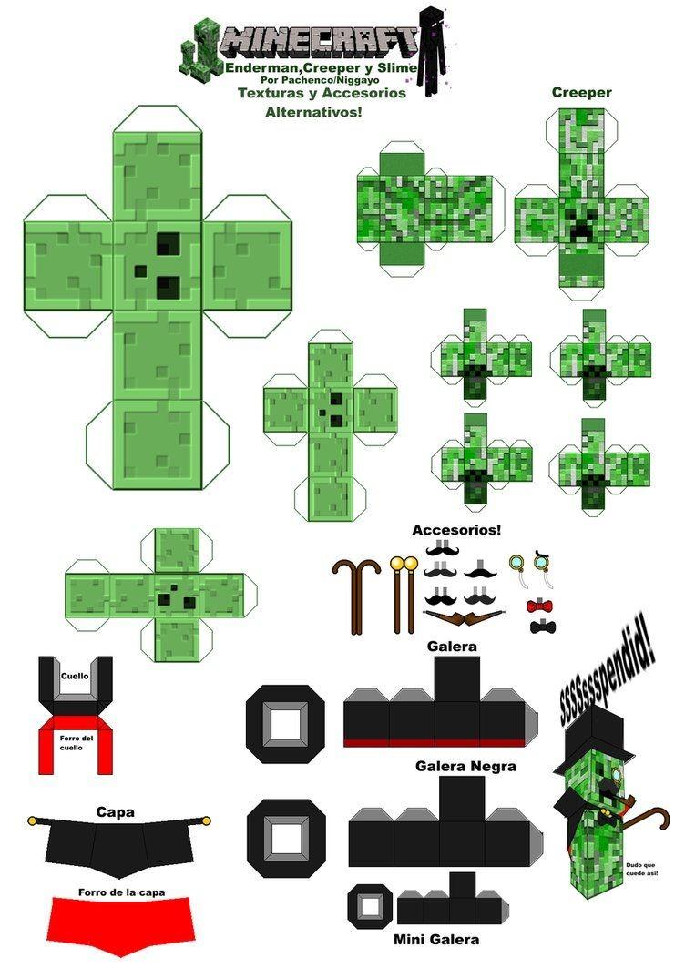 Creeper Papercraft Minecraft Papercraft Texturas Y Accesorios Alterno by Nig O