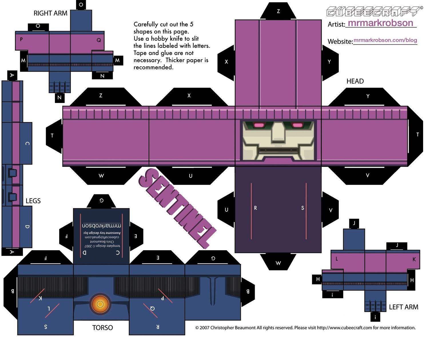 Cube Papercraft Sentinel Cubeecraft Cubeecraft Pinterest