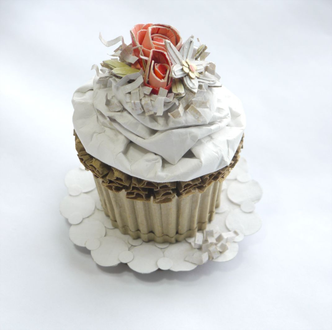 """Cupcake Papercraft Spring Wedding Cupcake"""" Recycled Cardboard"""