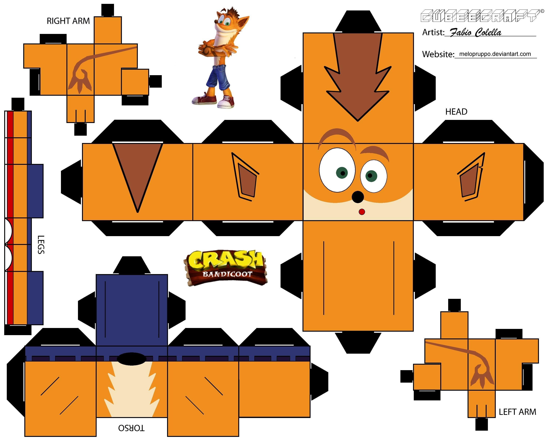 Deadpool Papercraft Crash Bandicoot Cubeecraft Cubeecraft Pinterest