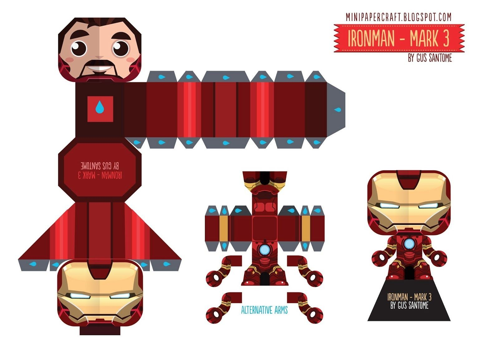 Deadpool Papercraft Mini Papercraft Ironman Mark 3 Manualidades
