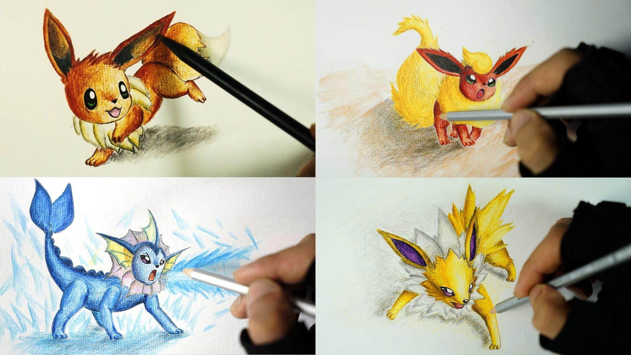 Eevee Papercraft Speed Drawing Eevee Evolutions Vaporeon Flareon Jolteon Shin