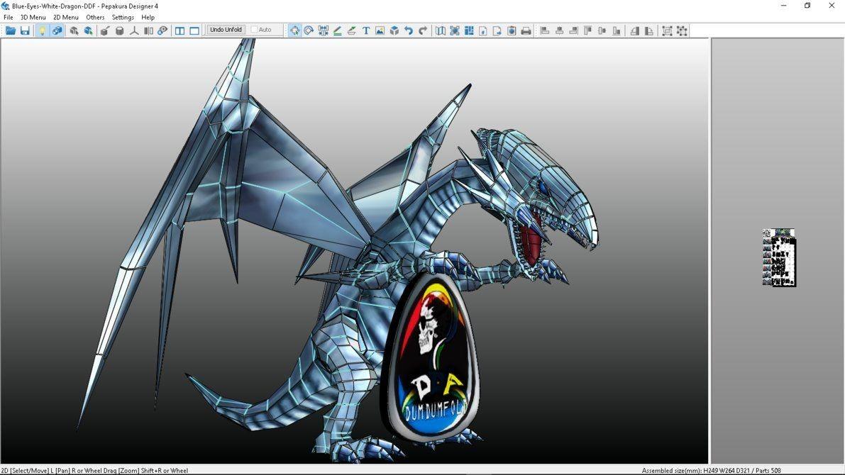 Fantasy Papercraft Blue Eyes White Dragon Papercraft by Dumdumbot