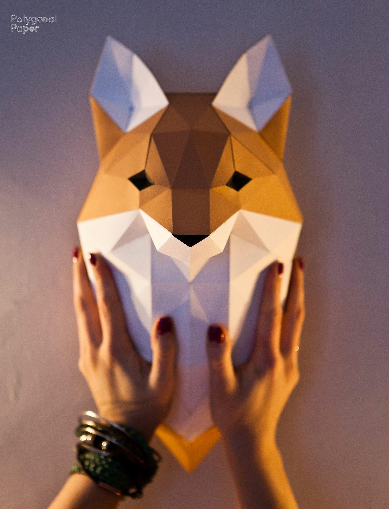 Fox Papercraft 2d Paper Fox Head Template Eng Rus Fra Polygonal Paper