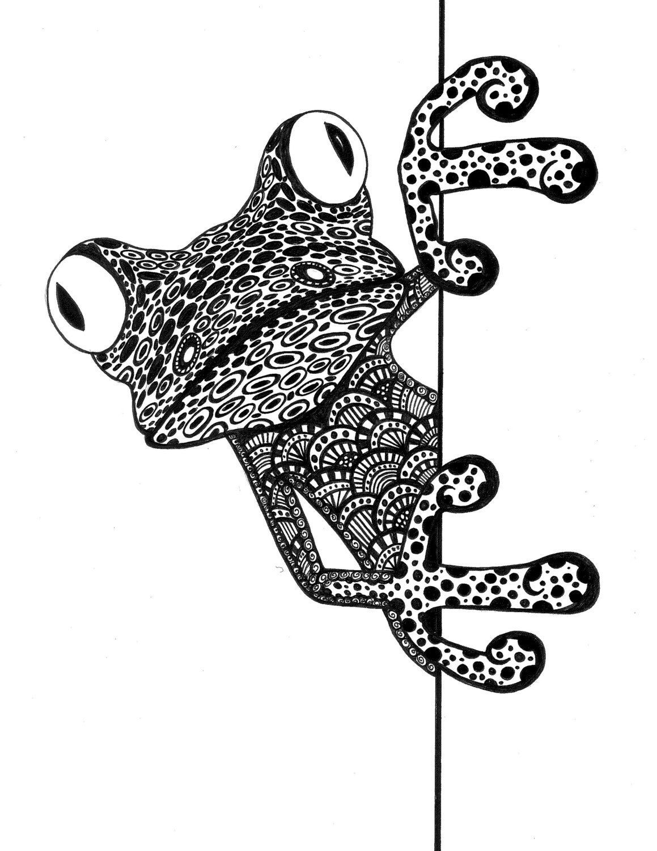 Frog Papercraft Peek A Boo Frog Zentangle Zendoodle Doodle Frog Ink Drawing