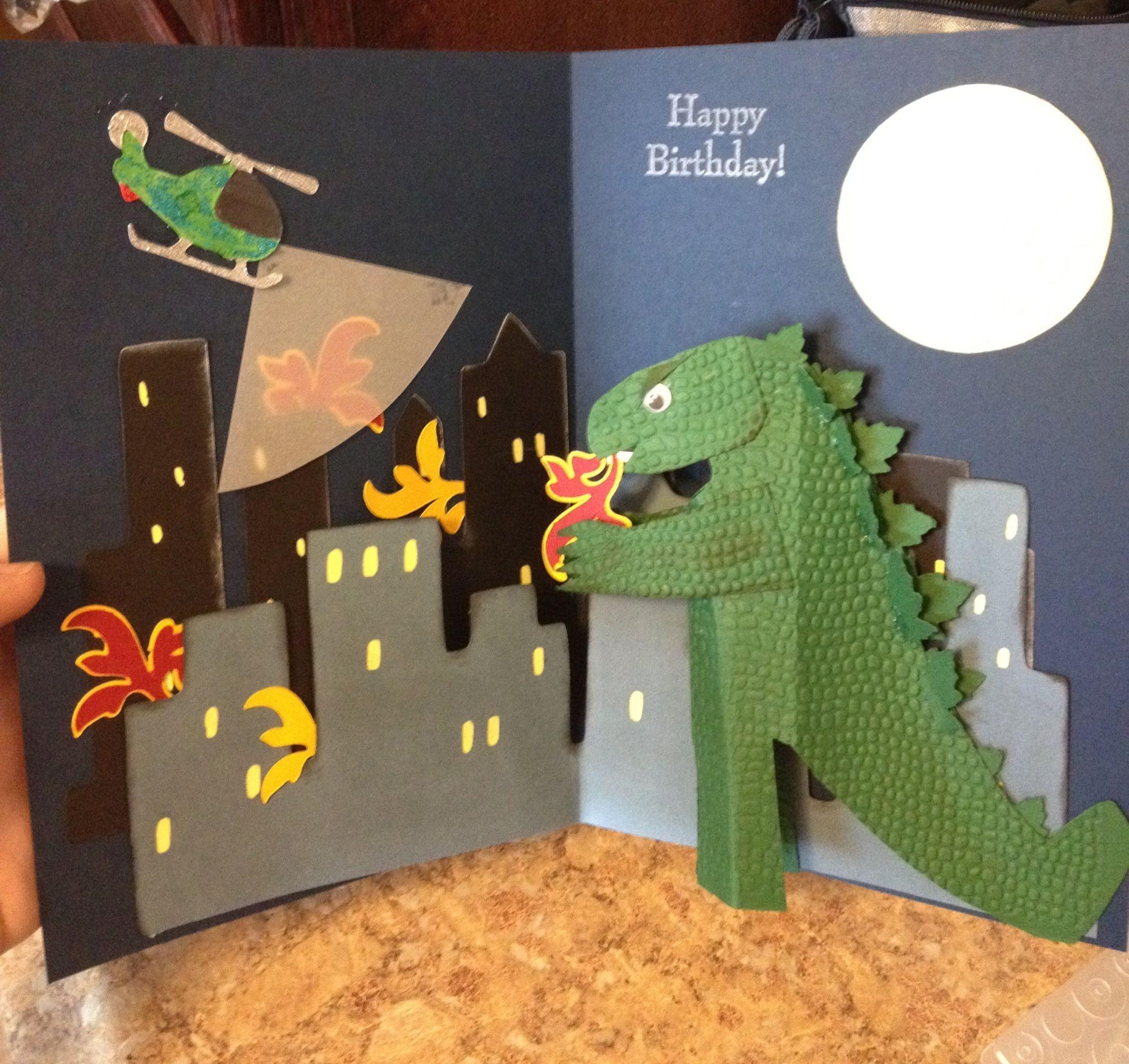 Godzilla Papercraft Godzilla Pop Up Birthday Card by Kimberly Heath
