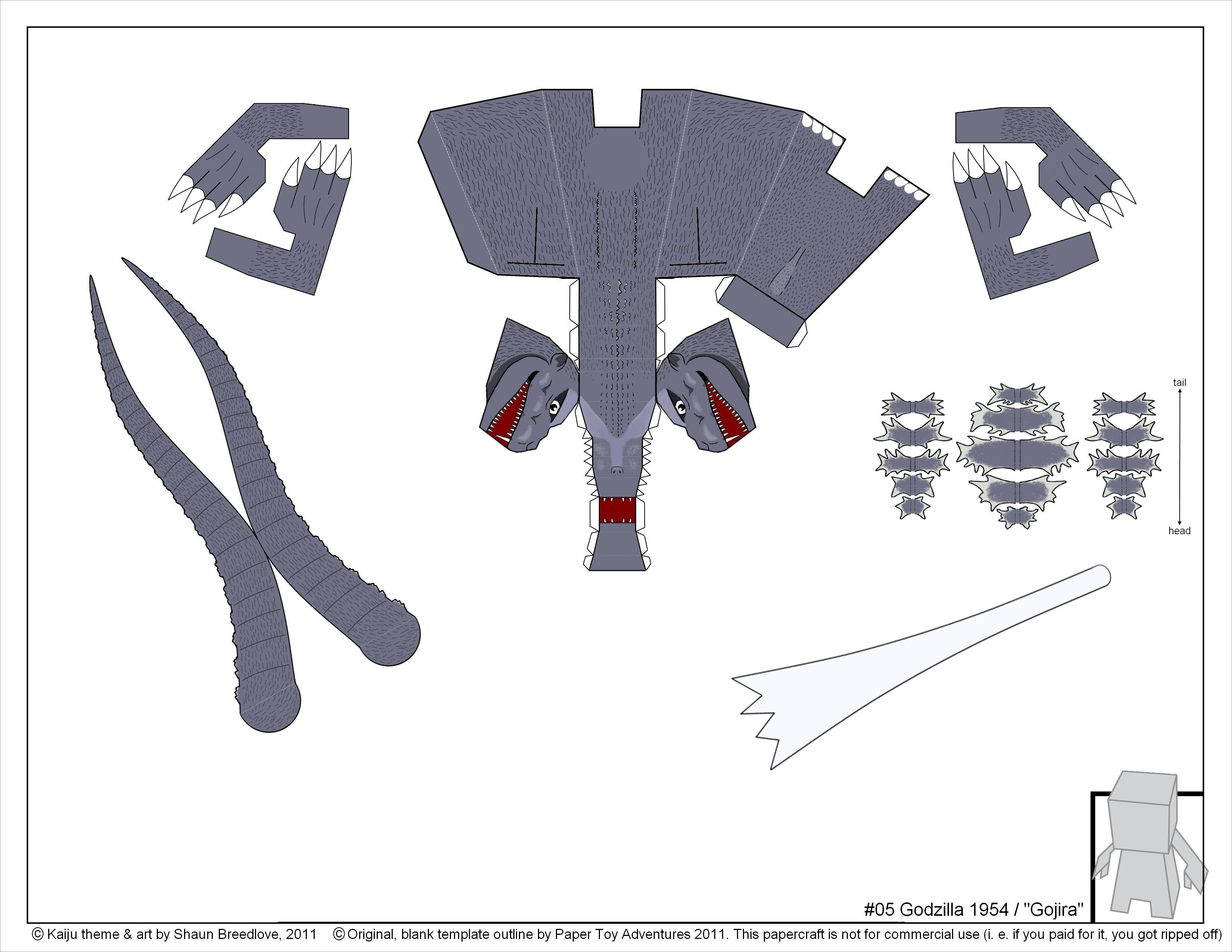 Godzilla Papercraft Printable Godzilla Papercraft Download Free