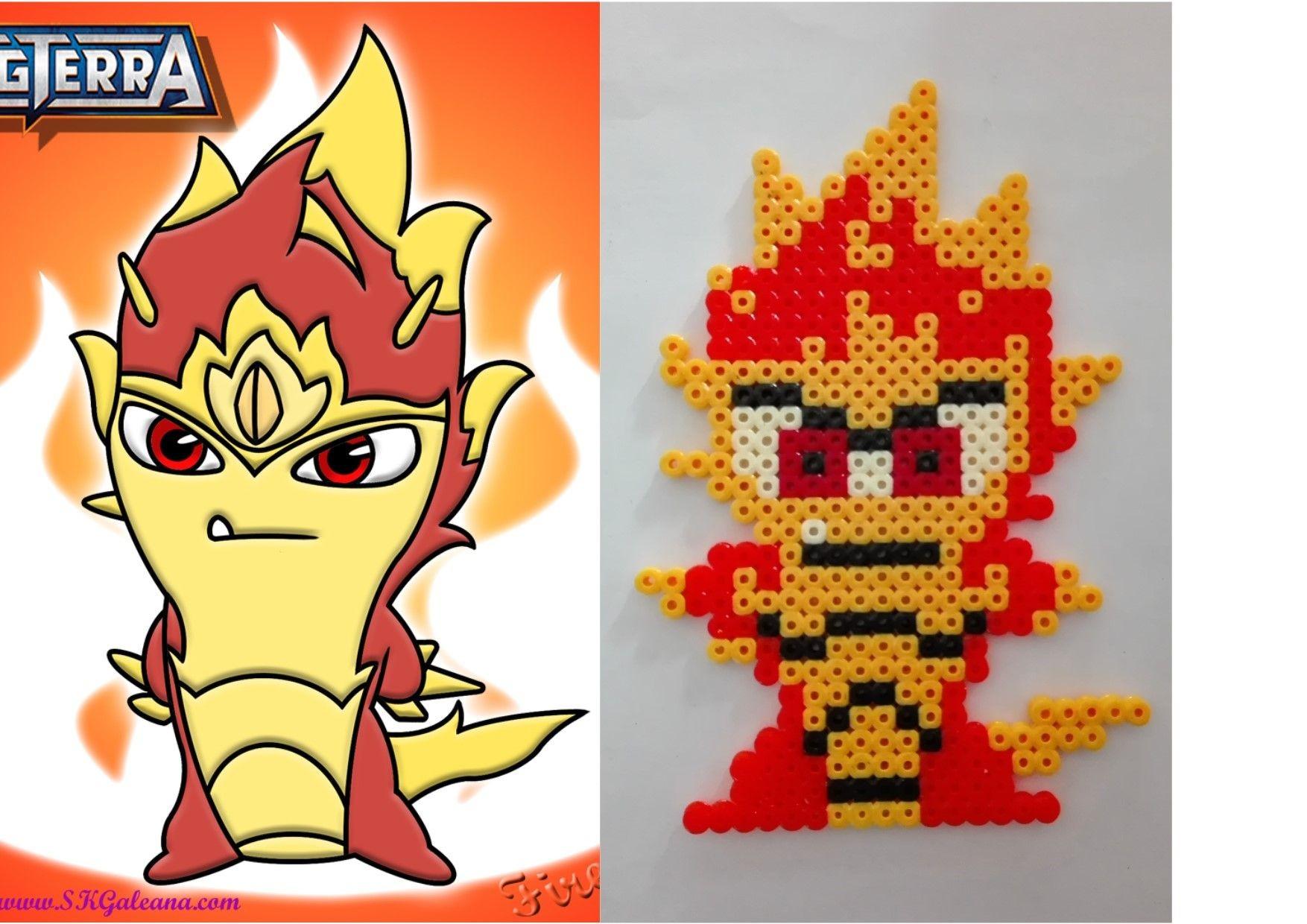 Groudon Papercraft Hama Beads Perles Hama Slug Fire Elemental Slugterra