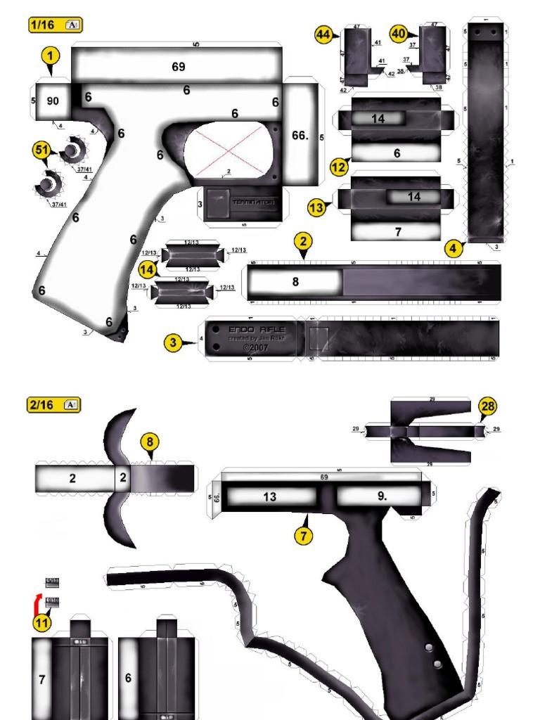 Gun Papercraft Papercraft Model Gun
