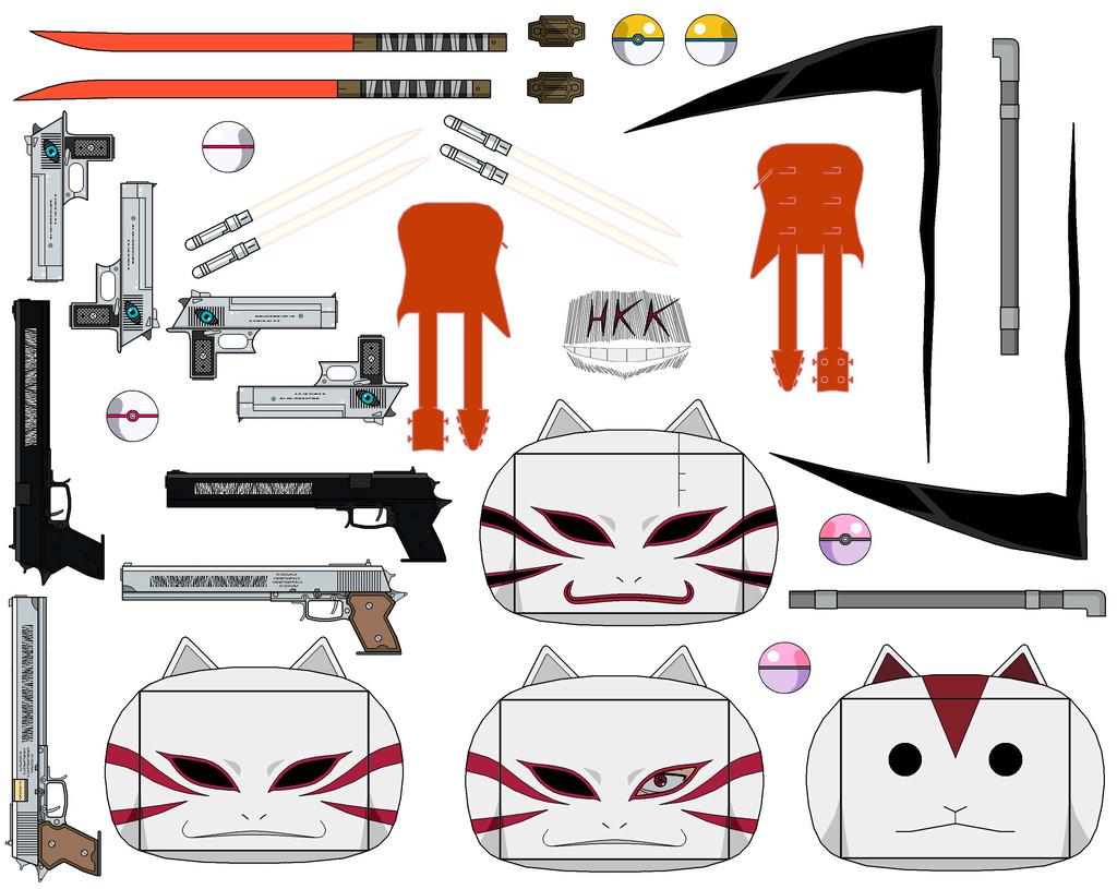 Gun Papercraft Swords and Guns From Anbu Series Pack Papercraft toy