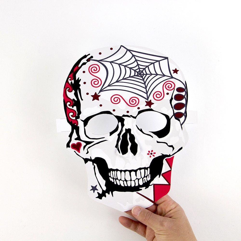 Halloween Papercraft Paper Craft Halloween Skull Mask Day Of the Dead Da De Muertos