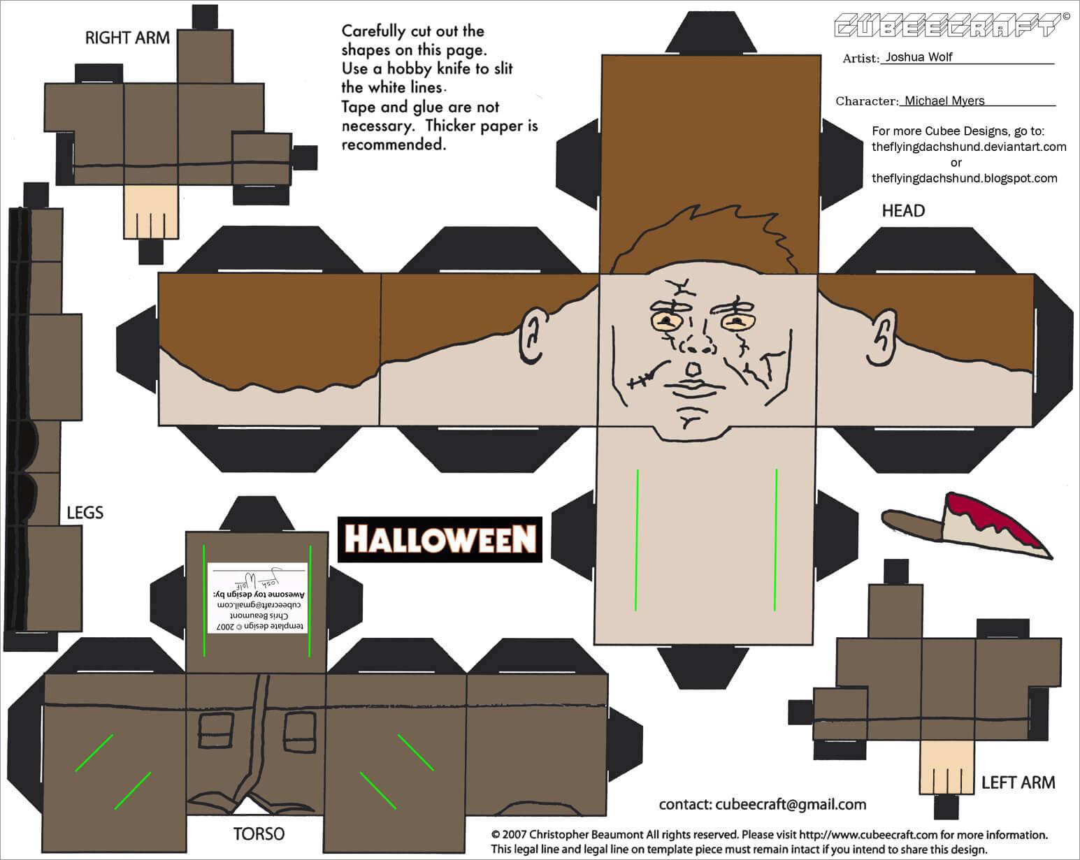 Halloween Papercraft Printable Michael Myers Halloween Papercraft