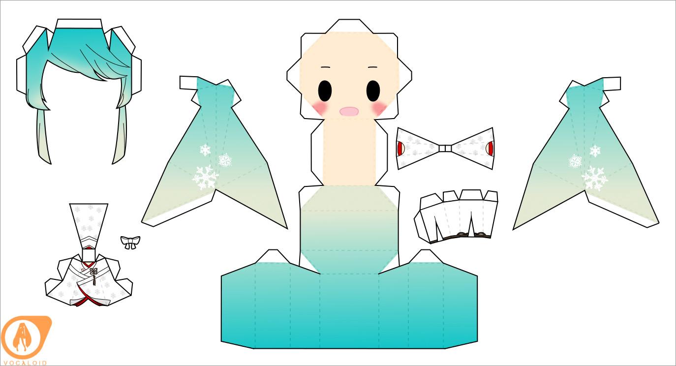Hatsune Miku Papercraft 2013 Snow Miku Hatsune Chibi Doll Papercraft