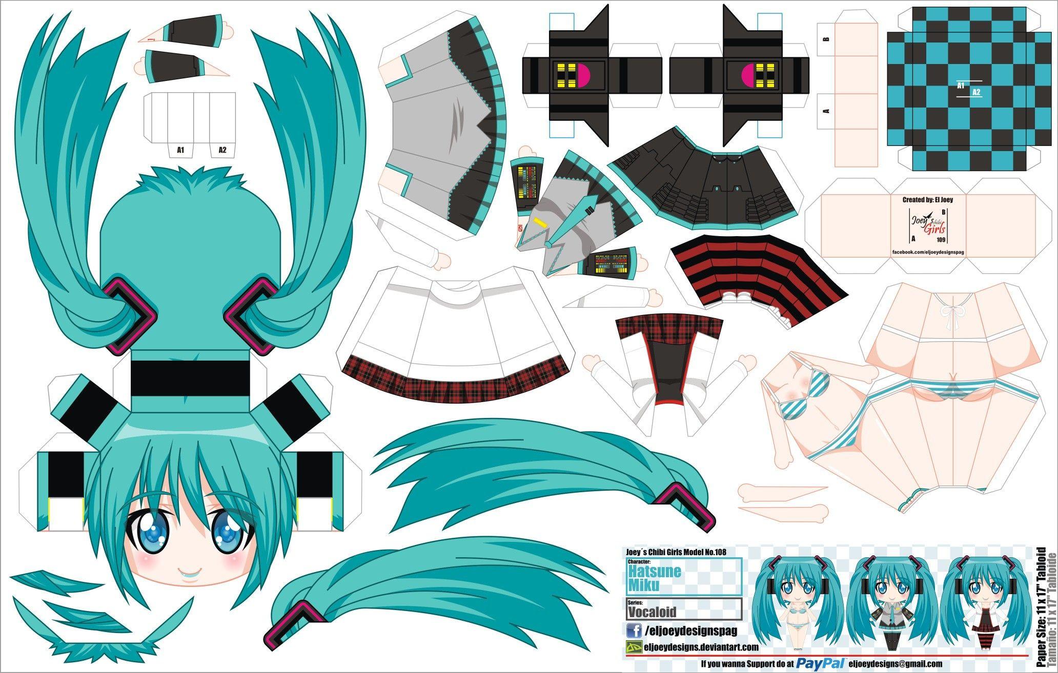 Hatsune Miku Papercraft Hatsune Miku Papercraft Template