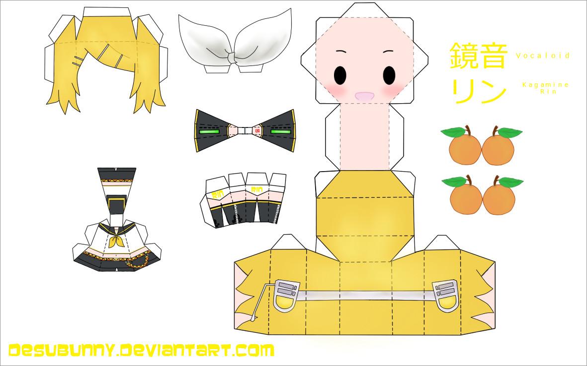 Hatsune Miku Papercraft Kagamine Rin Vocaloid Papercraft