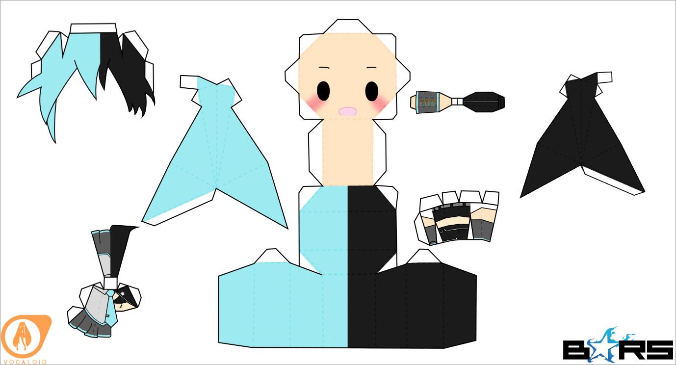 Hatsune Miku Papercraft Miku Hatsune Miku Shooter Chibi Doll Papercraft