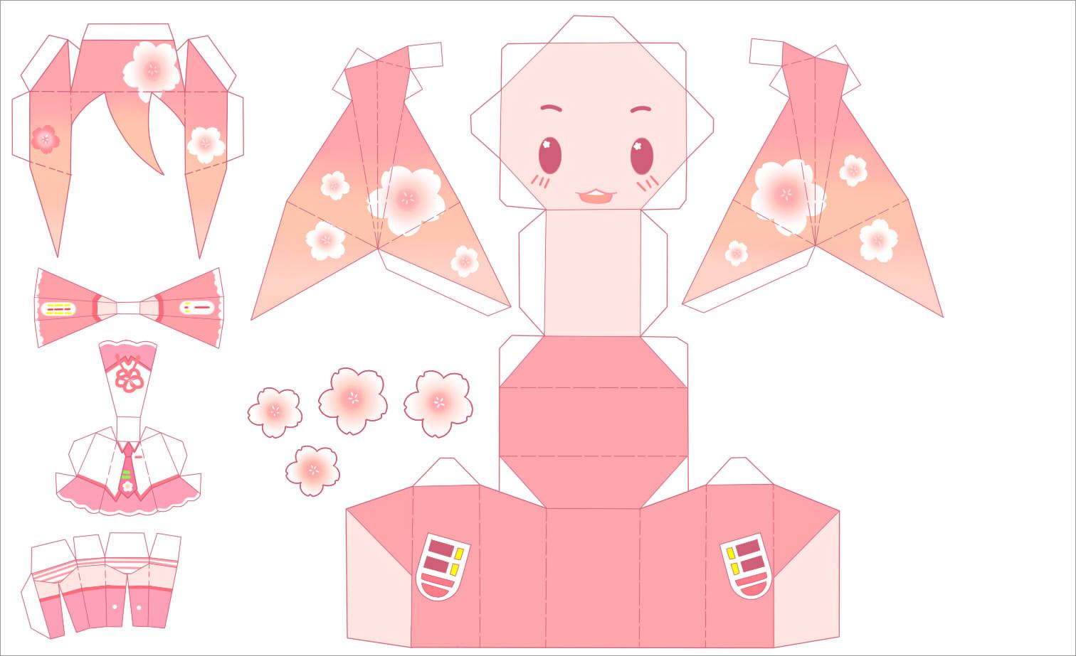 Hatsune Miku Papercraft Papercraft Sakura Miku by Angelhatsunemttz