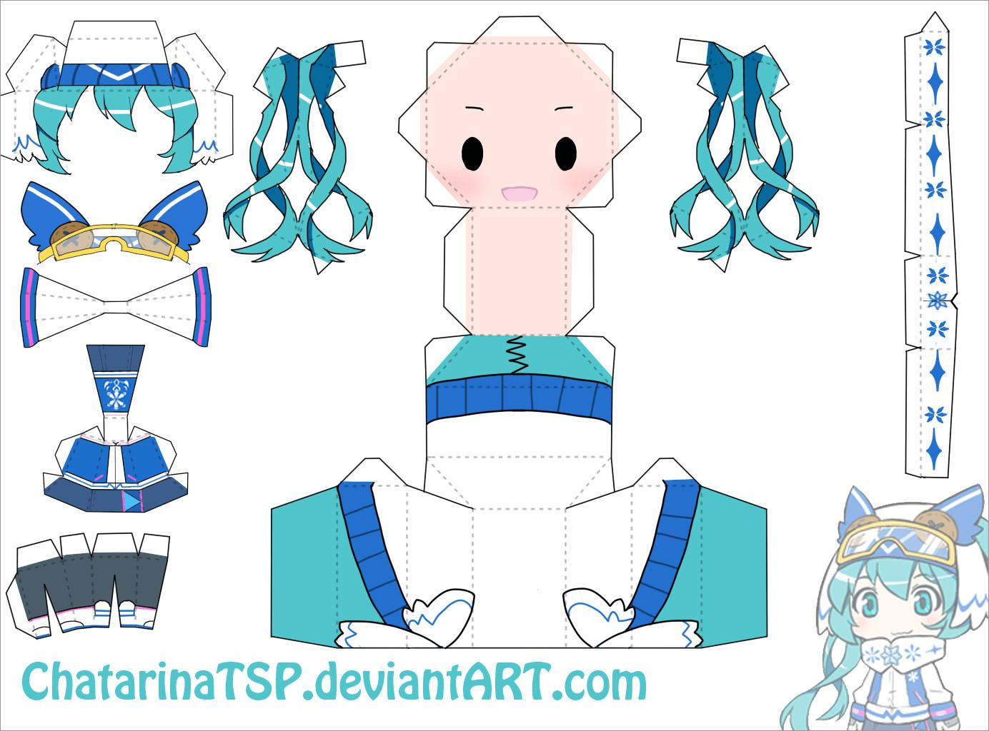 Hatsune Miku Papercraft Snow Miku Chibi Doll Papercraft