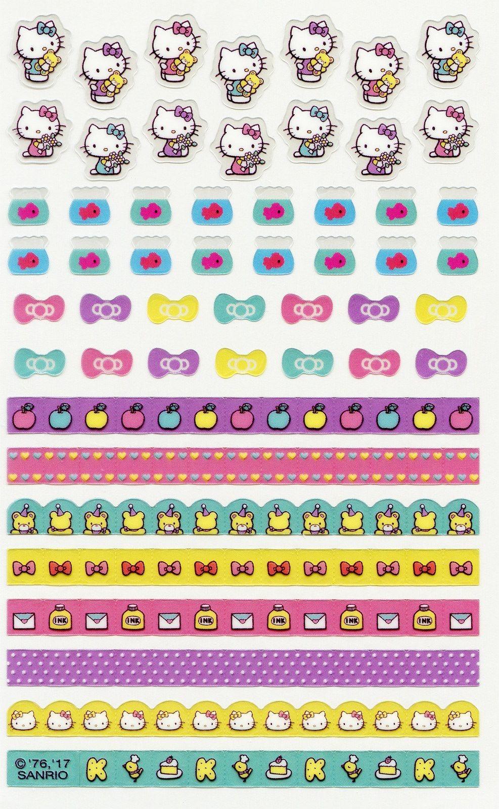 Hello Kitty Papercraft Sanrio Hello Kitty Schedule Stickers Hello Kitty