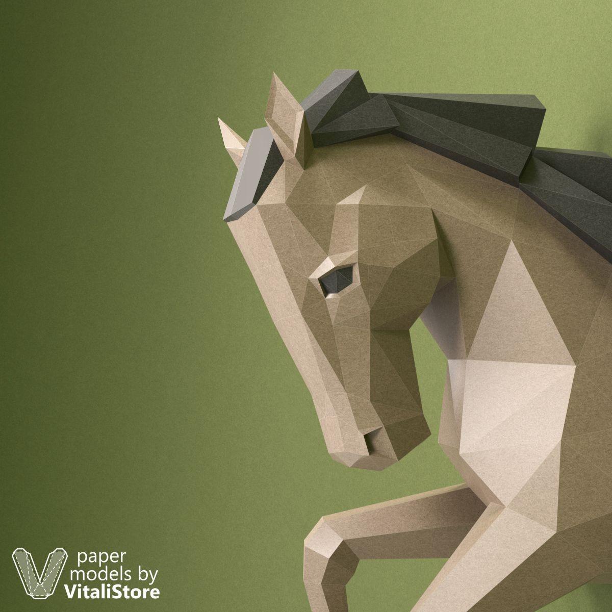 Horse Papercraft Horse Papercraft Horse Paper Trophy Wall Decor