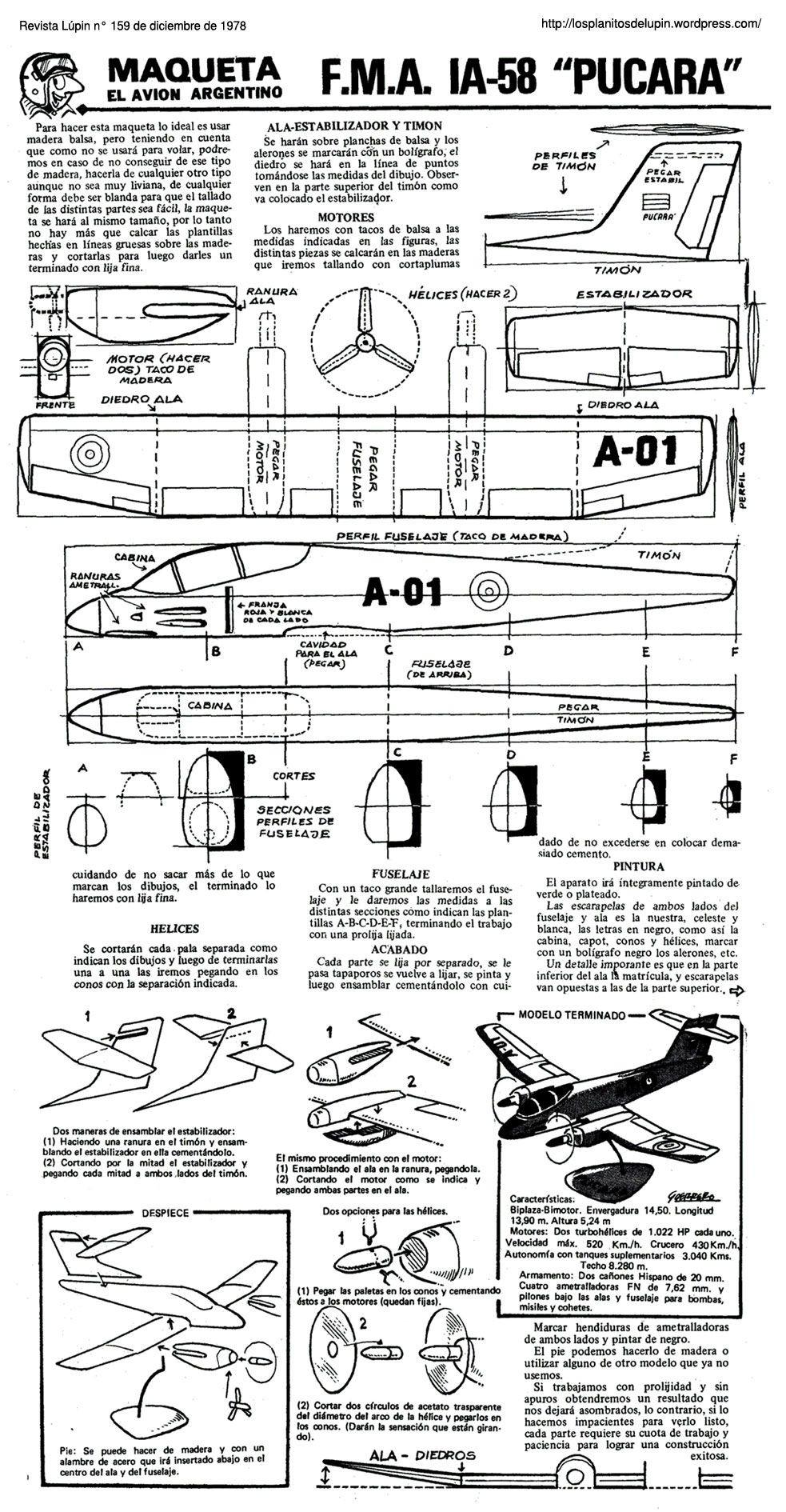 Hp Papercraft Planitos De Lºpin Ia 58 Pucará Samolot Pinterest