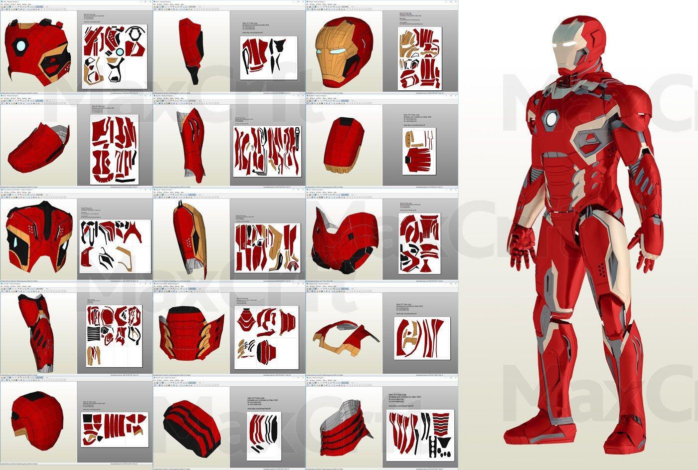 Iron Man Mask Papercraft Mark 45 Friday Helmet Pepakura File Diy Sukhragchaa
