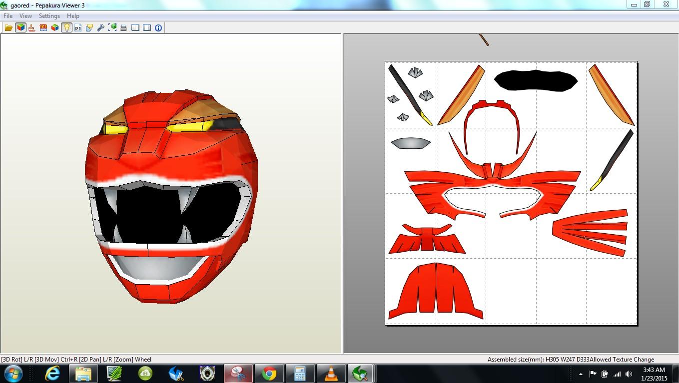 Kamen Rider Helmet Papercraft Papercraft Pdo File Template for Gaoranger Gao Red Foam Helmet