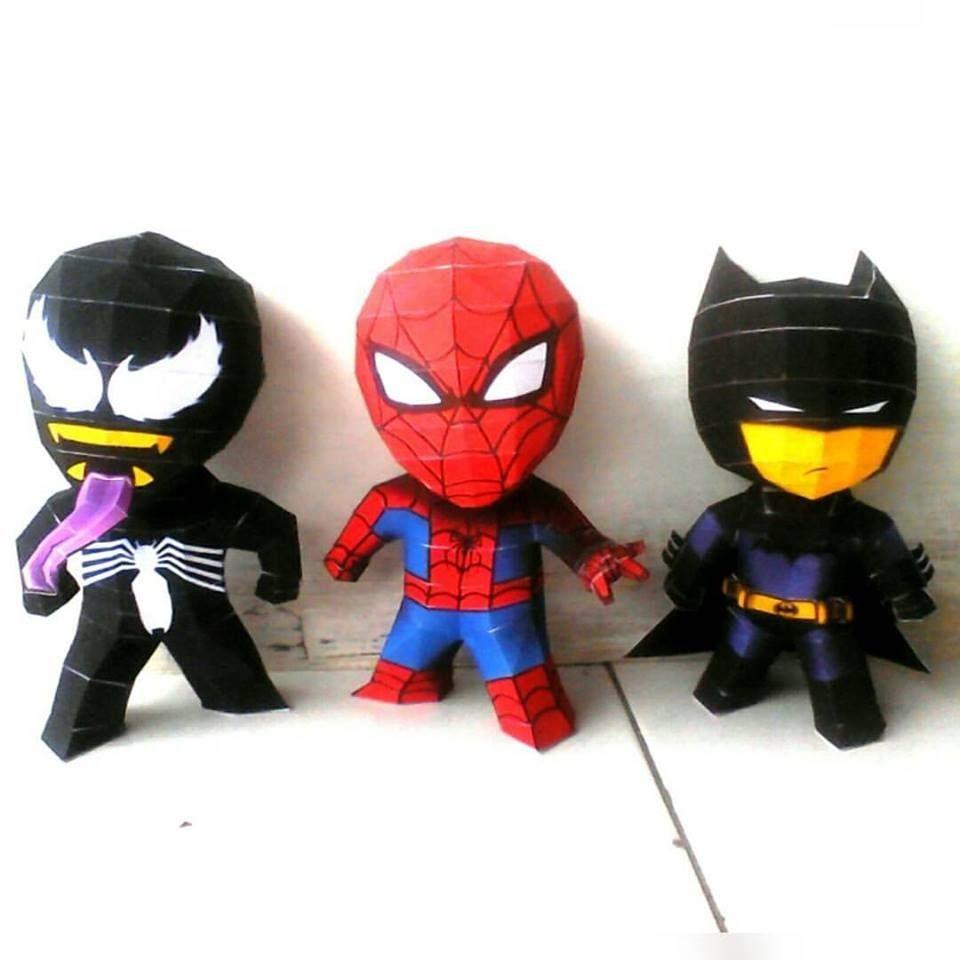 Kamen Rider Papercraft 3 Chiby Superheroes Batman Spiderman & Venom Papermodel