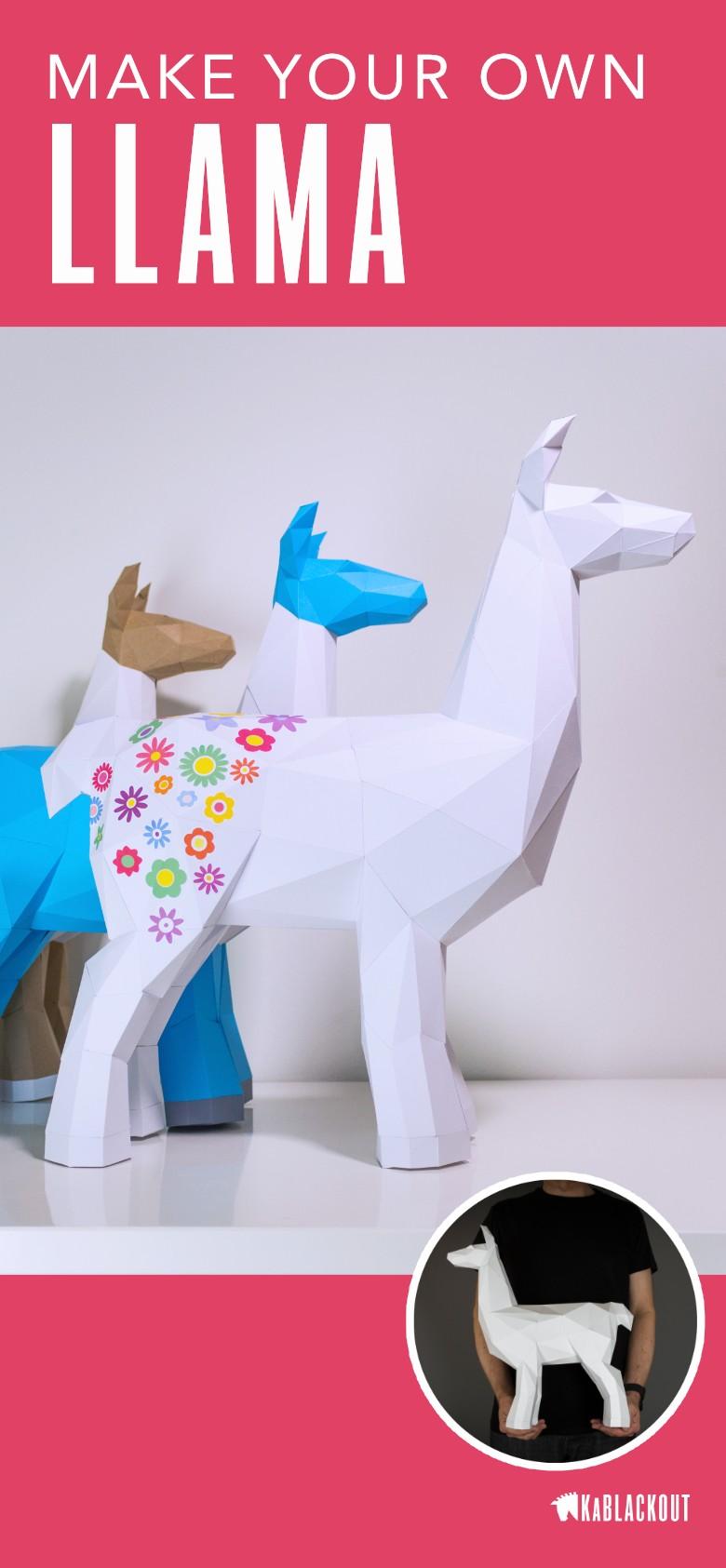 Life Size Papercraft Llama Papercraft Low Poly Llama Paper Llama Craft Llama Lover