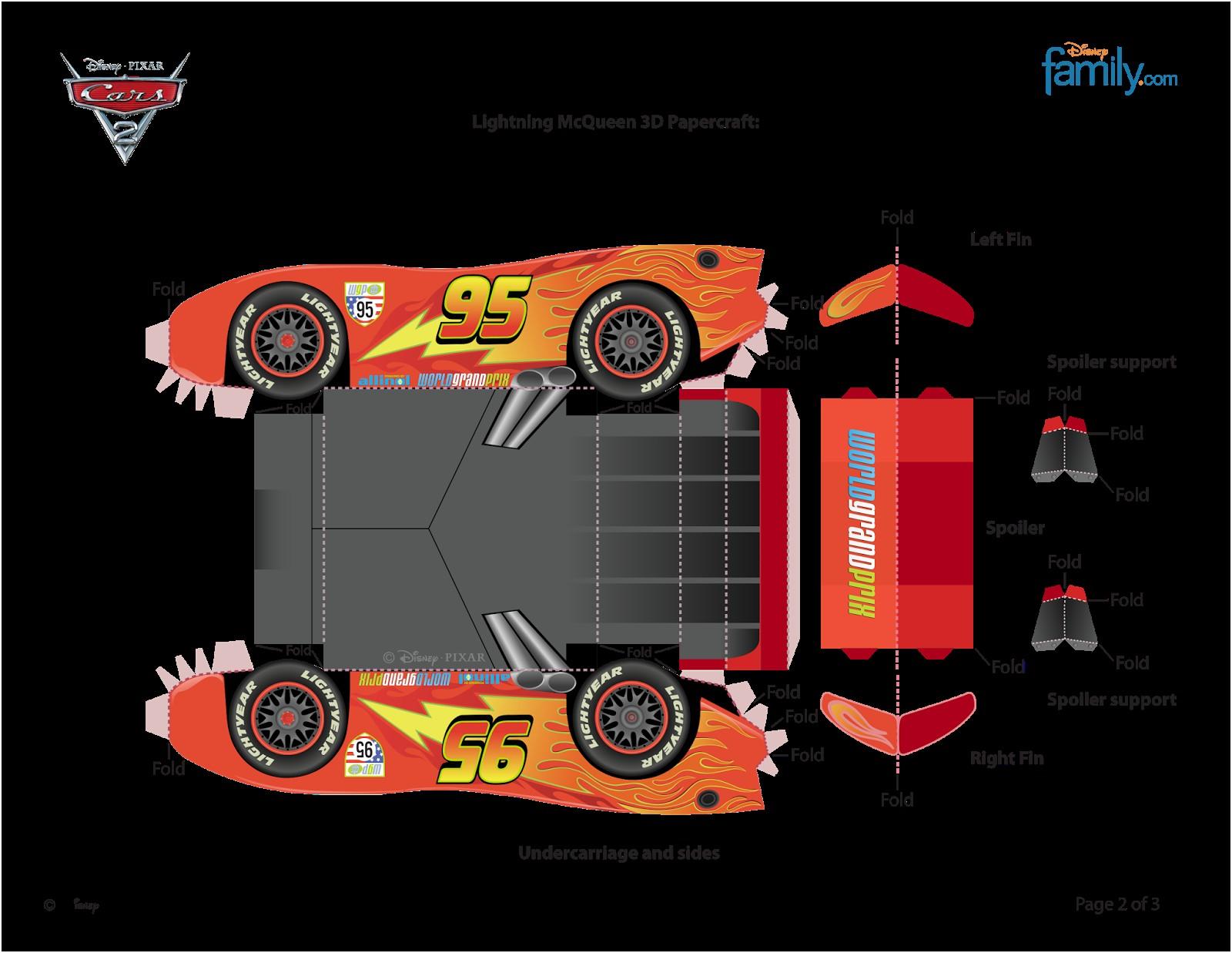 """Lightning Mcqueen Papercraft Kit Aniversário Personalizados Tema """"carros Da Disney"""" Para Imprimir"""