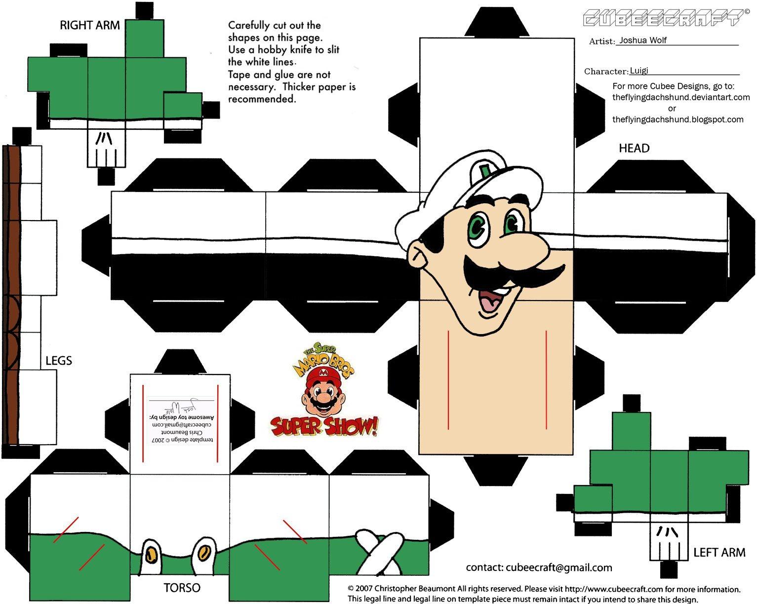 Luigi Papercraft Vg 5 Fireball Luigi Cubee by theflyingdachshund On Deviantart