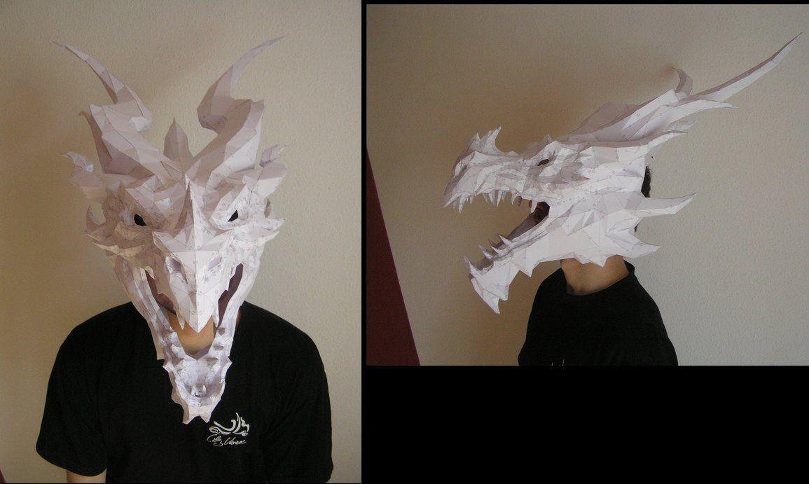 Mask Papercraft Pepakura Skyrim Alduin Head 3 3 by Distressfasirt