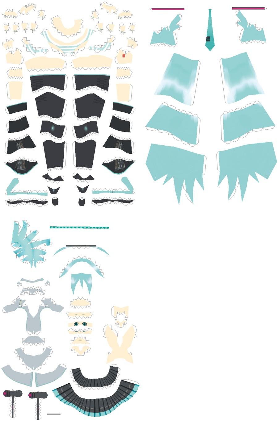 Miku Hatsune Papercraft Anime Papercraft