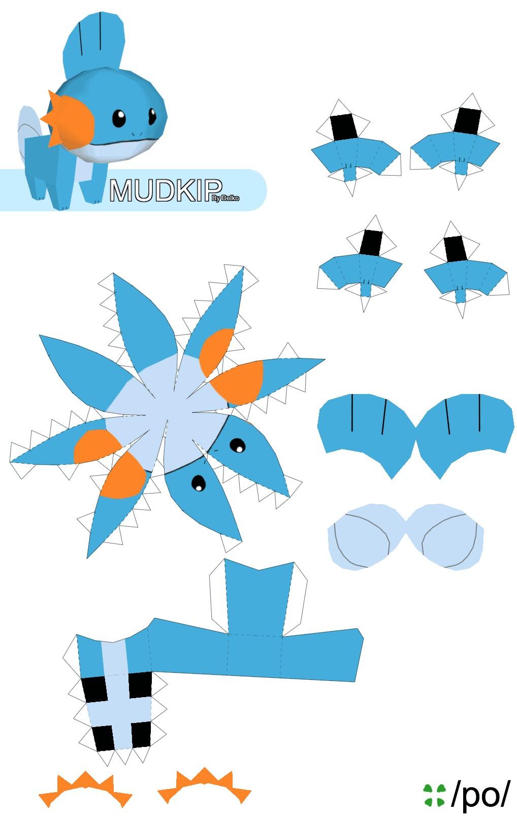 Miku Hatsune Papercraft Easy Pokemon Papercraft Mudkip Cakepins