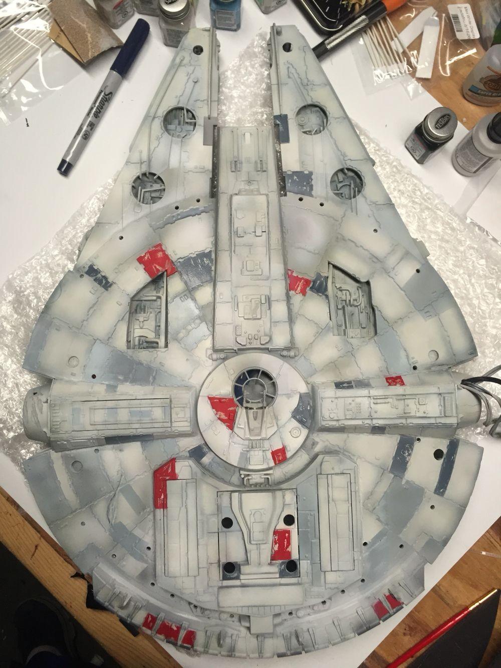 Millenium Falcon Papercraft Base Coat On the Bottom Half Of the Falcon Plete