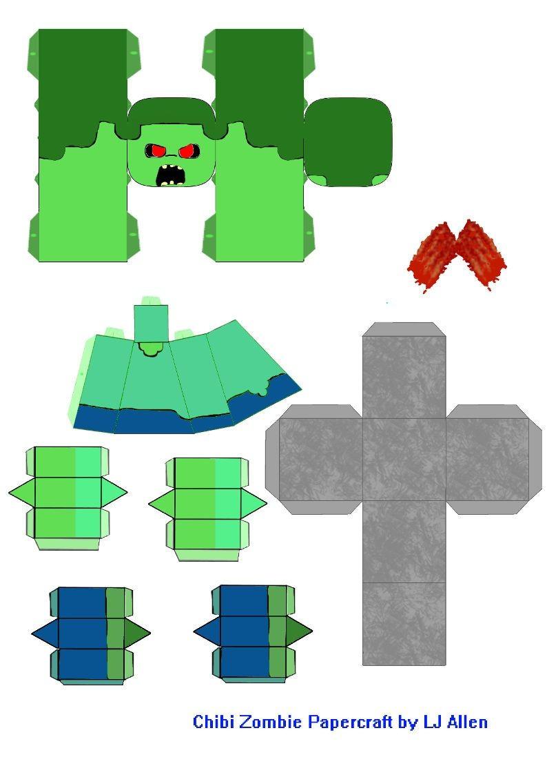 Minecraft Mini Papercraft Papercraft Chibi Zombie Papercraft Minecraft