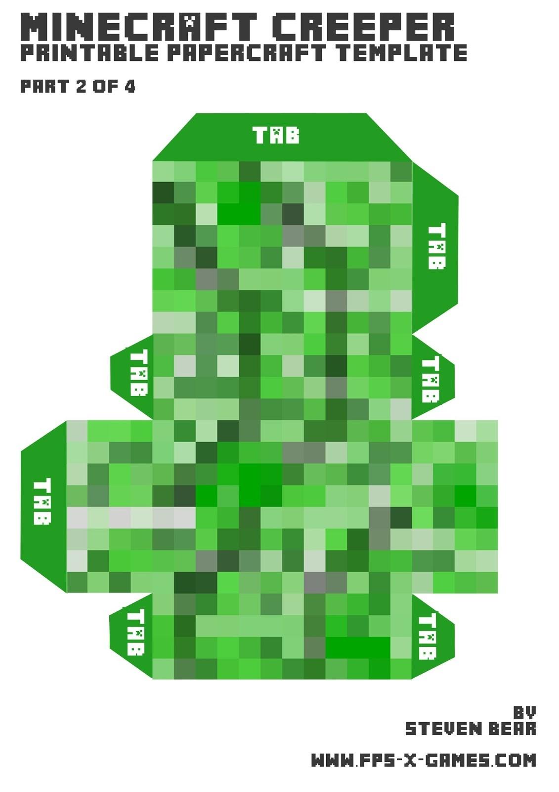 Minecraft Papercraft.com Herstellung Einer Großen Kriechpflanze Mit Papercraft Gunook
