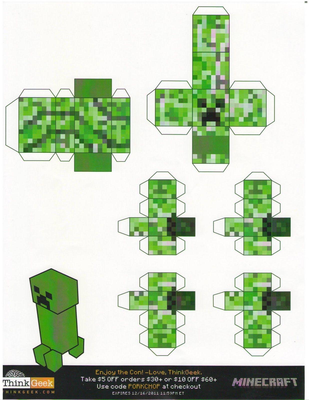 Minecraft Papercraft Figures Minecraft Papercraft Creepers Tiny Papercraft T