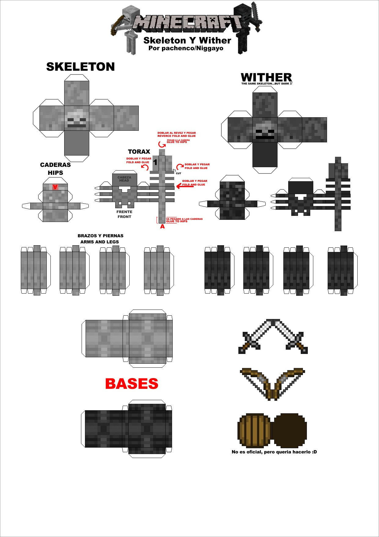 Minecraft Papercraft Models Minecraft Papercraft Models Skeleton and wither